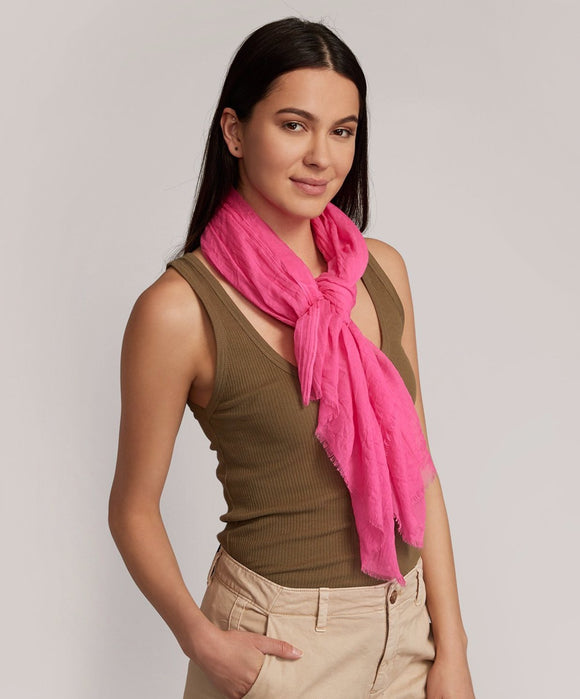 Solid Crinkle Wrap Scarf - Pink