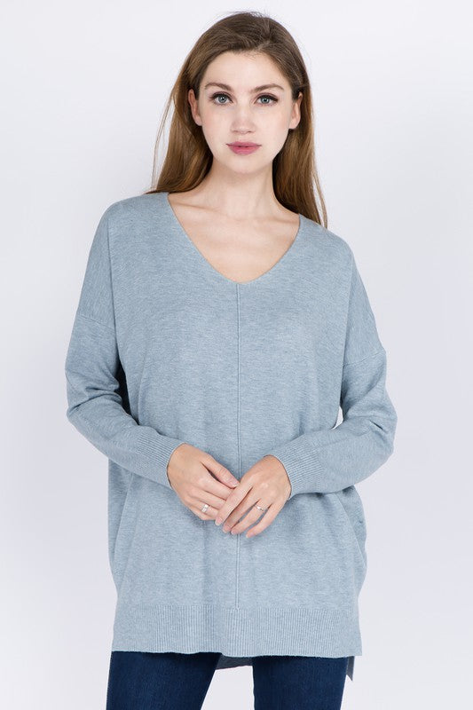 Dream V-neck Sweater - Light Blue