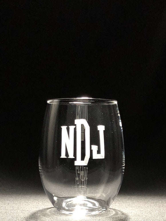 Engraved Stemless Wine Glass