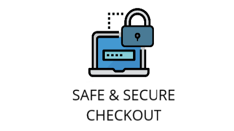 safe and secure checkout represented by a locked pad lock in front of a computer to indicate that the transaction is secure