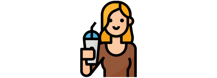 Blonde lady holding a cup with a bamboo drinking straw from Sipeco