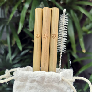 Three Sipeco Bamboo straws with turtle engraved  on them and a cleaning brush inside a designated cloth carry pouch