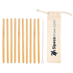 10 Bamboo Straws of the brand Sipeco Bamboo straws next to each other including cleaning brush and cloth carry pouch with printed sipecostraw.com logo