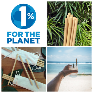1% for the Planet logo next to Sipeco Bamboo straws and a man holding a glass with a bamboo straw inside