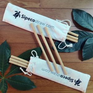 Packs of reusable bamboo straws including 10 straws and a carry pouch with the custom turtle sipecostraw logo printed
