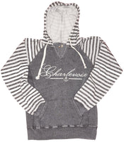 Womens striped burnout hoody- Charlevoix- 4 COLORS