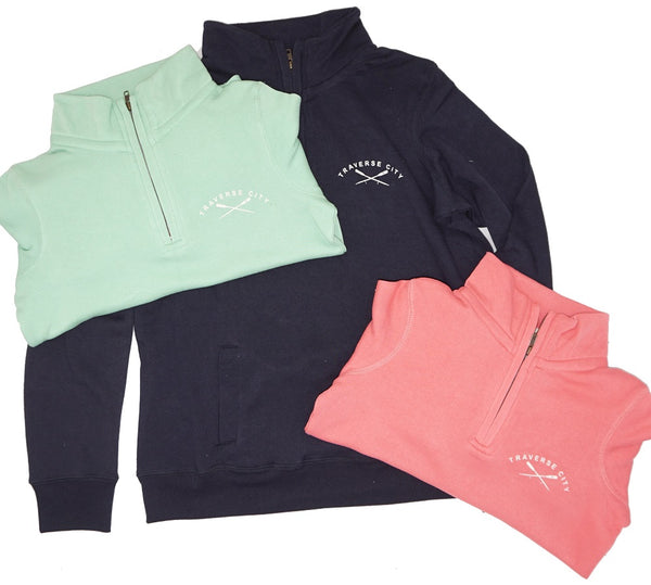Womens 1/4 Zip- Soft Peached Cotton! - Traverse City Oars