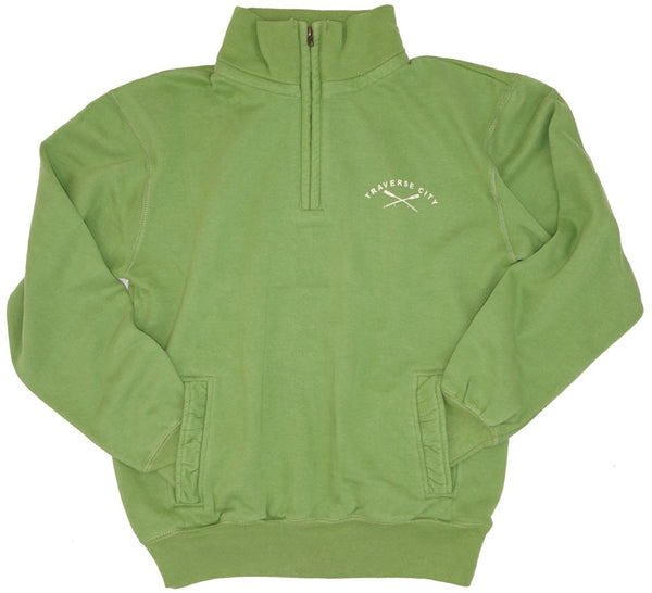 Mens/Unisex 1/4 Zip- Soft Peached Cotton! - Traverse City Oars- Green