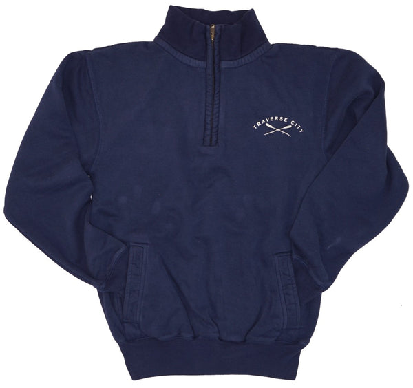 Mens/Unisex 1/4 Zip- Soft Peached Cotton! - Traverse City Oars- Navy