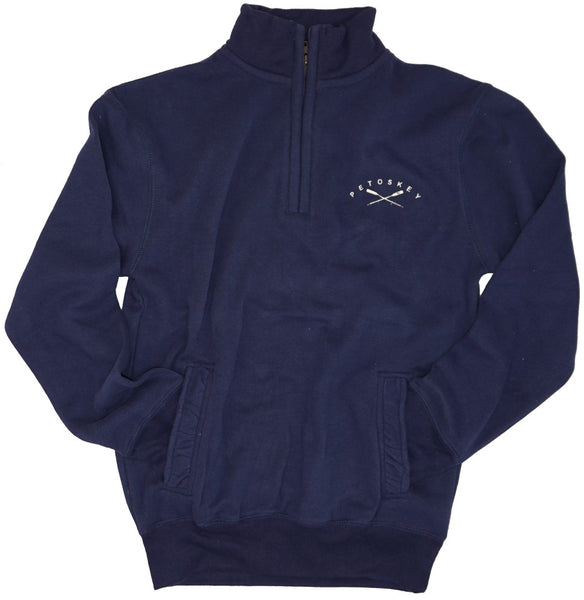 Mens/Unisex 1/4 Zip- Soft Peached Cotton! - Petoskey Oars- Navy