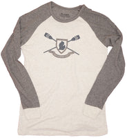Mens Knit Longsleeve -Charcoal/Oatmeal- Traverse City oar screen