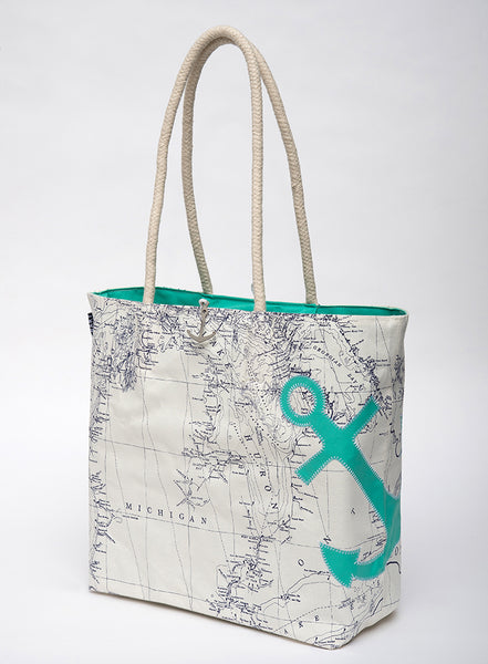 Great Lakes Anchor Sail Bag Tote - Seafoam