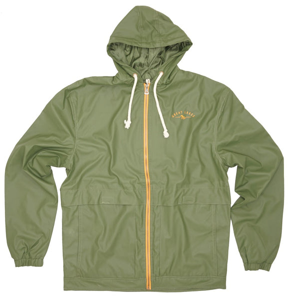 Mens Rain Jacket- Athletic Fit- Olive Green