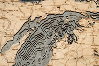 "Lake Michigan 3-D Nautical Wood Chart, Small, 16"" x 20"""