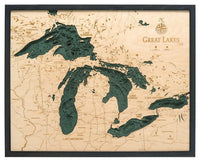 "Great Lakes 3-D Nautical Wood Chart, Large, 24.5"" x 31"""