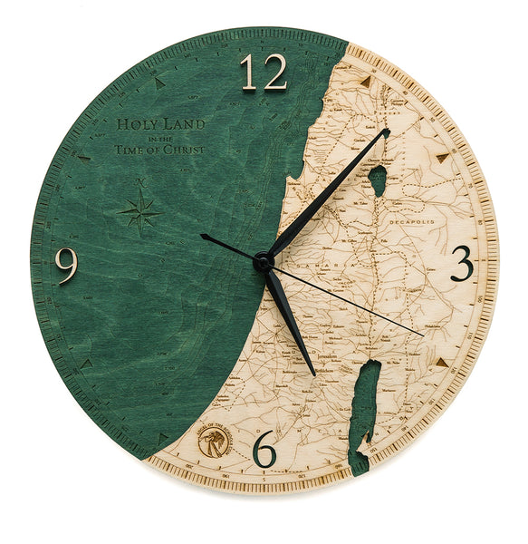 "Holy Land Engraved Wooden Wall Clock - 12"" Diameter"