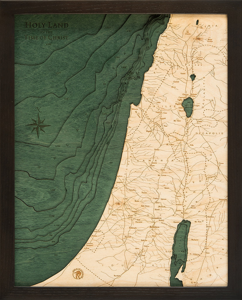 "Wood Carved Map of the Holy Land in the Time of Christ  16"" x 20"" (11 layers)"