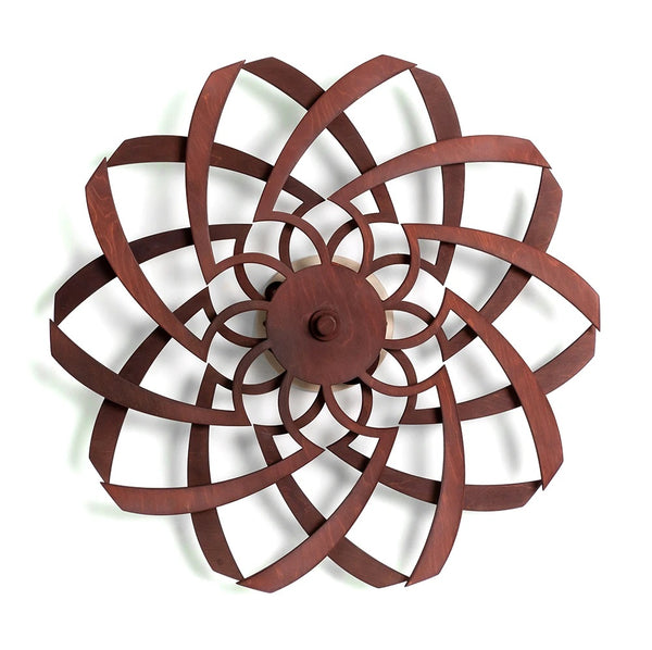 "Kinetic Wood / Inflowing Kinetic Sculpture - Brown - 34"" Diameter"