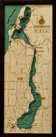 Lake Leelanau, Michigan 3-D Nautical Wood Chart, Medium, 13.5""