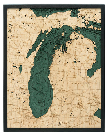 "Lake Michigan 3-D Nautical Wood Chart, Large, 24.5"" x 31"""