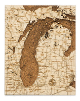 Woodchart Cork Map - Lake Michigan