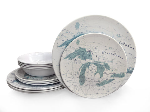 Dinner Set - Great Lakes Map