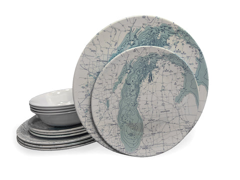 Dinner Set - Lake Michigan Map