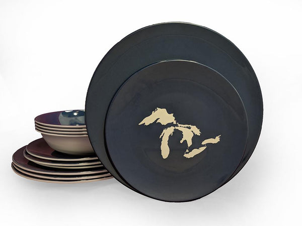 Dinner Set - Great Lakes Silhouette-Navy