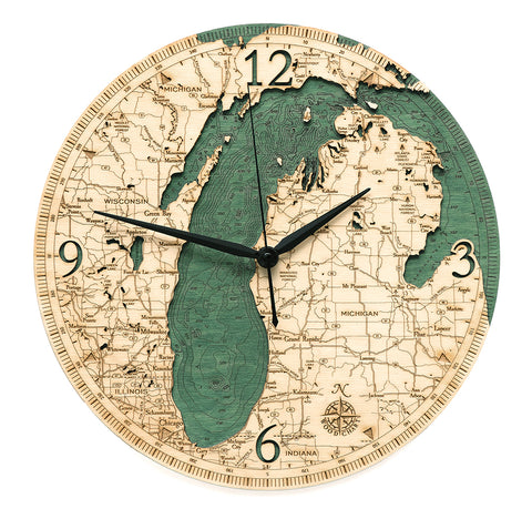 Woodchart Clock - Lake Michigan