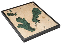 "Burt and Mullet Lake 3-D Nautical Wood Chart, Large, 24.5"" x 31"""