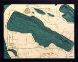 "Crystal Lake, Michigan 3-D Nautical Wood Chart, Small, 16"" x 20"""
