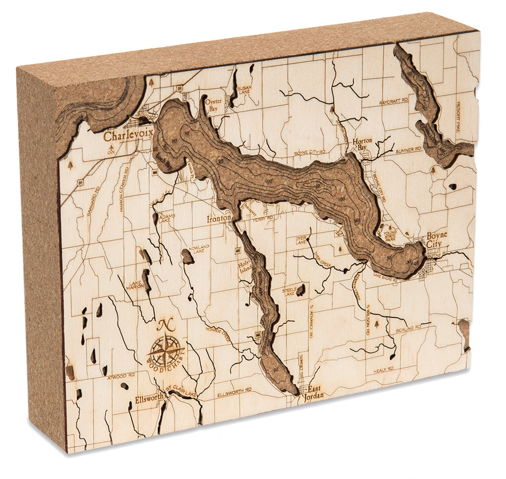 Woodchart Cork Map - Lake Charlevoix