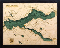 "Lake Charlevoix, Michigan 3-D Nautical Wood Chart, Small, 16"" x 20"""