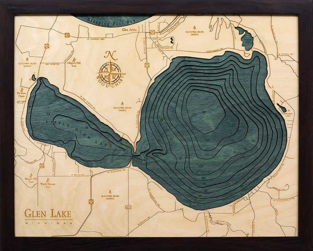 "Glen Lake, Michigan 3-D Nautical Wood Chart, Small, 16"" x 20"""
