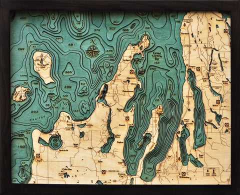 "Grand Traverse Bay 3-D Nautical Wood Chart, Small, 16"" x 20"""