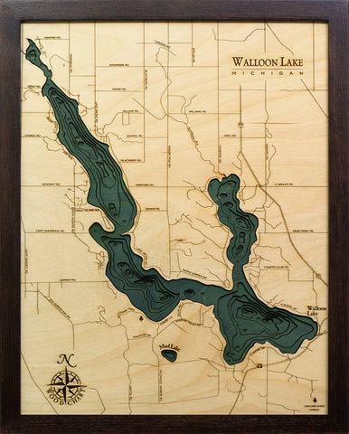 "Walloon Lake, Michigan 3-D Nautical Wood Chart, Small, 16"" x 20"""