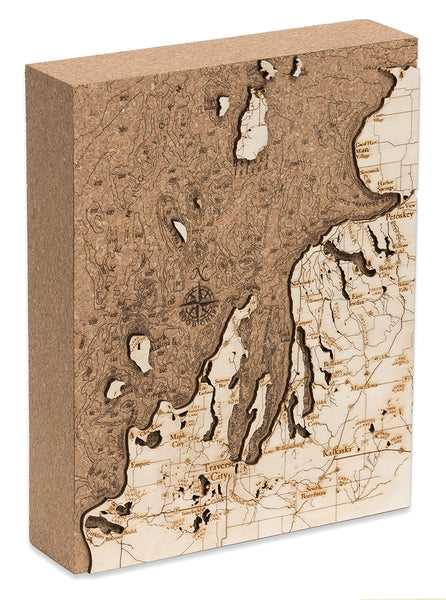 Woodchart Cork Map - Northwest Lower Michigan