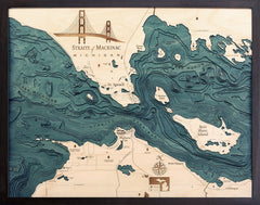 "Straits of Mackinac, Michigan 3-D Nautical Wood Chart, Large, 24.5"" x 31"""