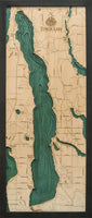 "Torch Lake, Michigan 3-D Nautical Wood Chart, Medium, 13.5"" x 31"""