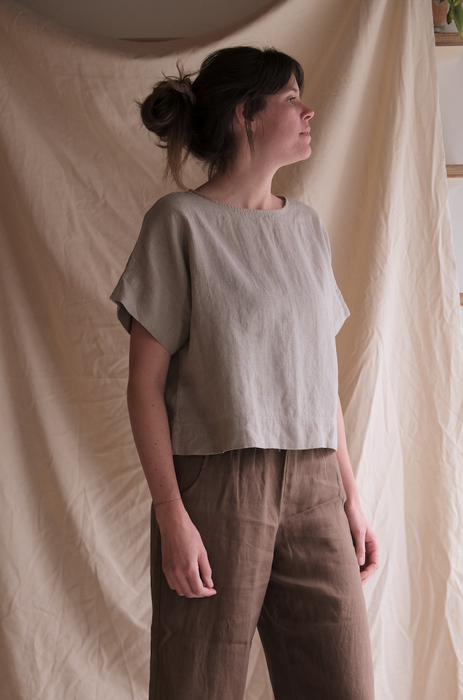 Mona top - natural grey
