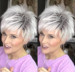 Popular White Short Wig(Hair Root Black)