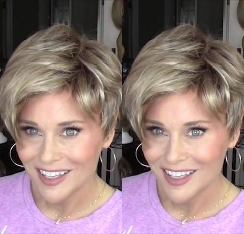 Casual Gold Short Wig(Hair Root Black)