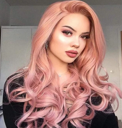 2020 Pink Long Curly Wig