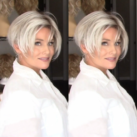 Fashion White Gray Short Wig (Hair Root Black)