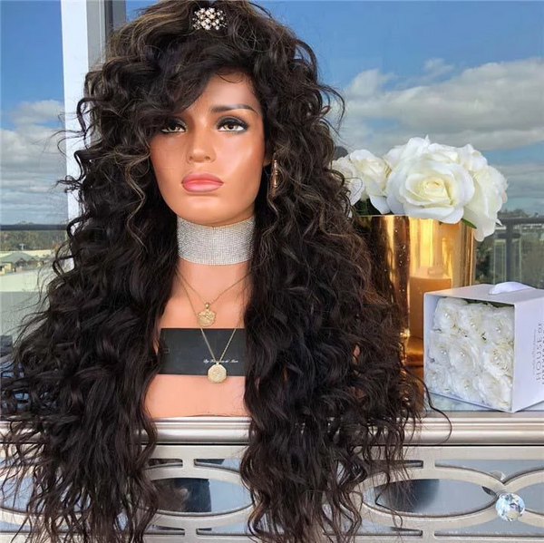 Black Long Curly Hair-140%(Extra Thick As In Video)