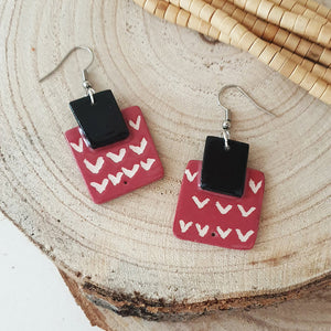 Ceramic earings, square