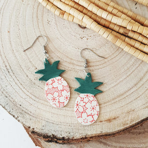 Ceramic earings, pineapple