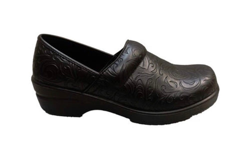Brandy- Black Embossed nursing clog - Scrubs Galore and More