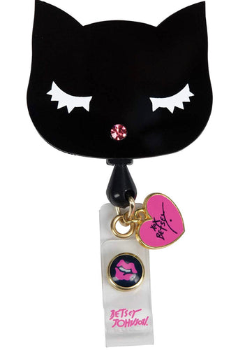 Betsey Johnson Cat Badge Reel - Scrubs Galore and More