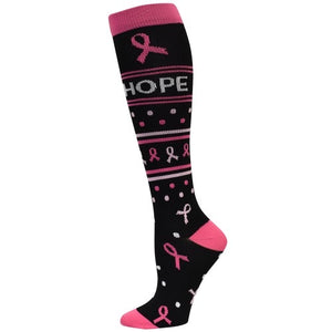 Hope Ribbon Compression Socks - Scrubs Galore and More